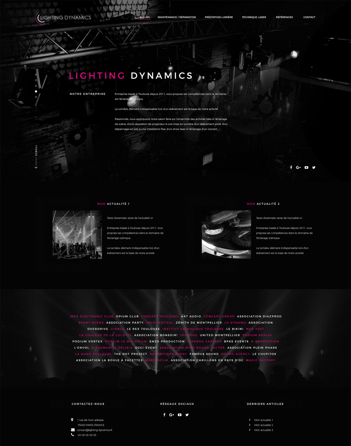 Site internet de Lighting Dynamics