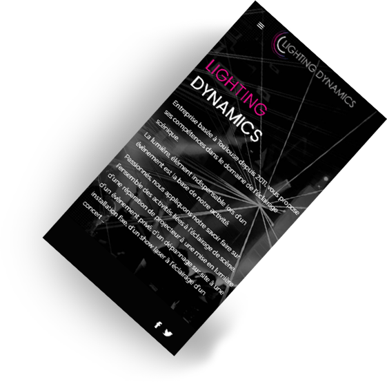 Site internet de Lighting Dynamics - Version Mobile