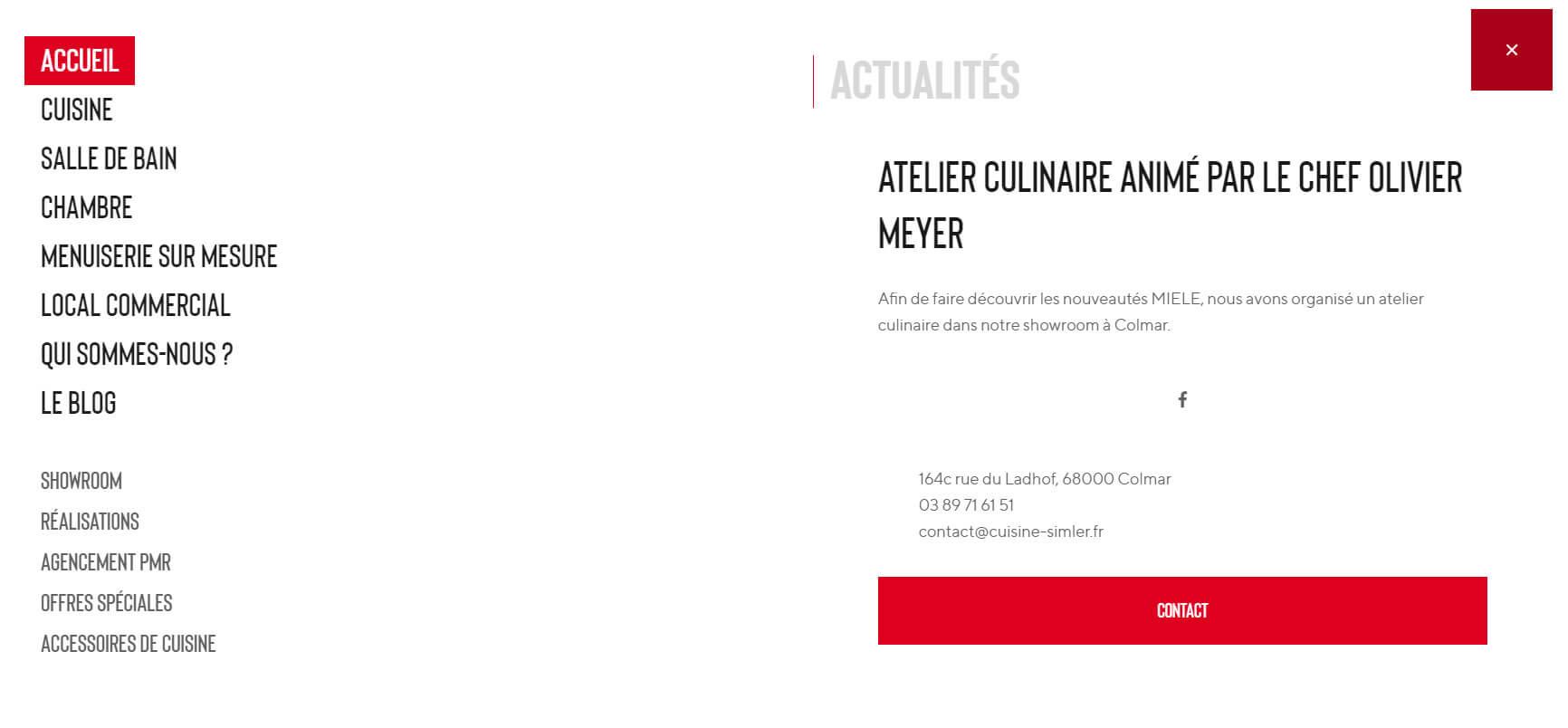 Menu du site internet de Cuisine Simler René