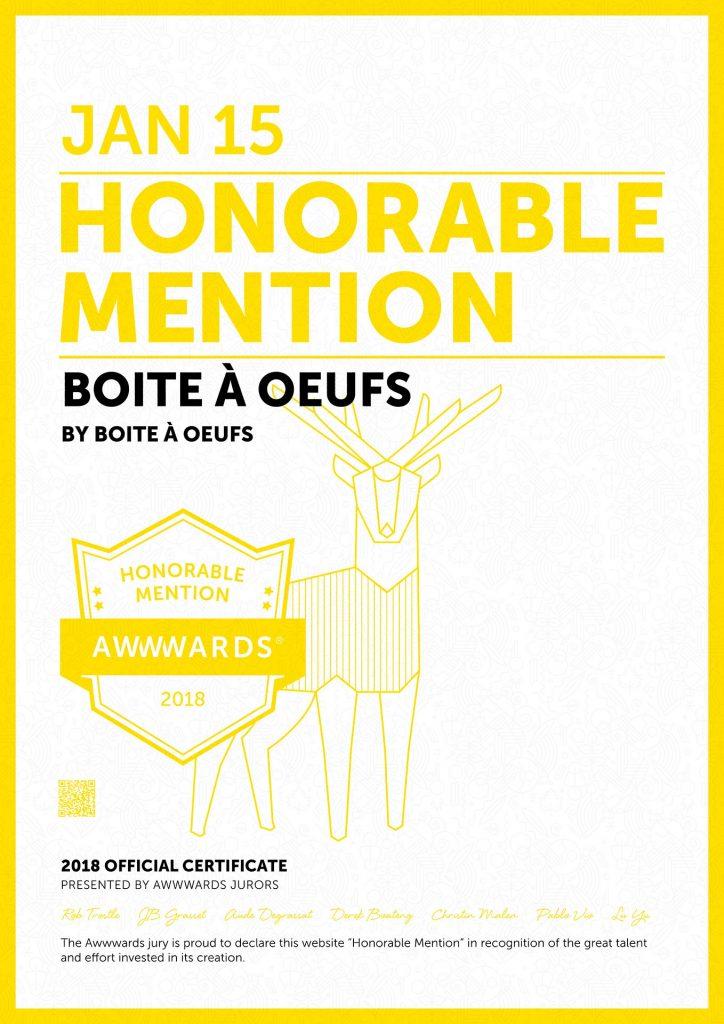 2018 01 15 AWWWARDS Boite a Oeufs Honorable Mention 724x1024 - Boite à Oeufs récompensé
